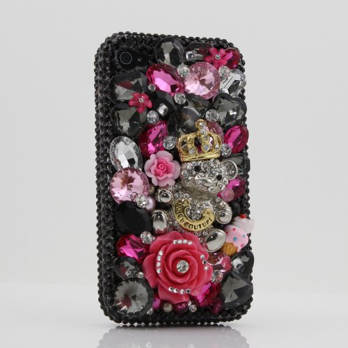 3D Swarovski Black Juicy Crystal Bling Case Cover for iphone 4 / 4s AT&T Verizon & Sprint (Handcrafted by BlingAngels)