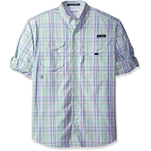 Bright Peach//Gingham Columbia Mens Super Bonehead Classic Short Sleeve Shirt Medium