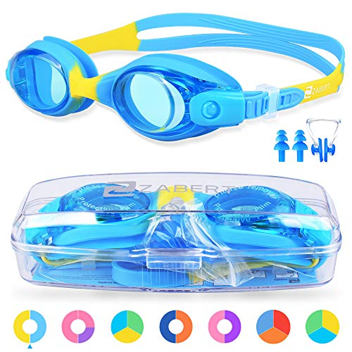 (ZABERT Kids Swim Goggles, K1 Blue Yellow Swimming Goggles for Kids Toddler Youth Girls Boys Junior Jr Childrens Child Little Age 2 3 4 5 6 7 8 9 10 11 12 Years Old - Anti Fog UV Protection)