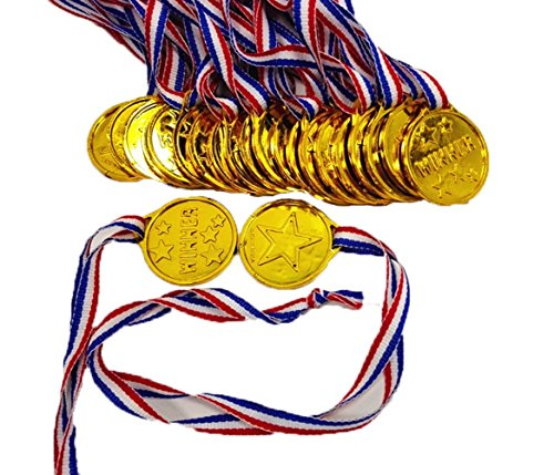 Party Favor - Gold Winner Award Medals with Neck Ribbon for Kids Party , Game Prizes (24 Pcs)