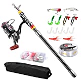 Search : FISHOAKY Fishing Rod kit, Carbon Fiber Telescopic Fishing Pole and Reel Combo with Line Lures Tackle Hooks Reel Carrier Bag for Adults Travel Saltwater Freshwater