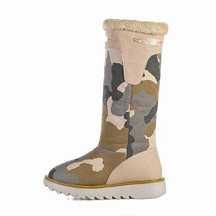 3821818f66ddd Amazon.com: Hy Women's Long Boots, Fall/Winter Comfort Flat Canvas ...