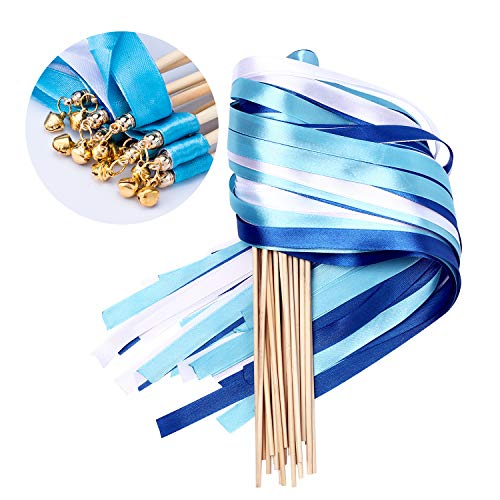 Whaline 30 Pack Ribbon Wands Chromatic Silk Ribbon with Bells Fairy Stick Wish Wands for Wedding and Valentines Party (Blue)]()
