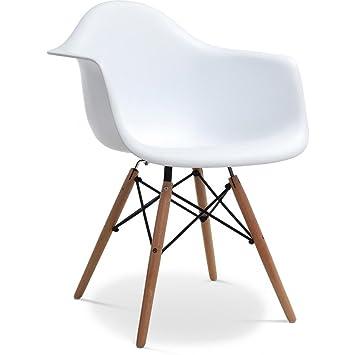 Chaises Design Chaise En Polypropylene Et Bois De Hetre Blanc 61 X 63 80 Cm