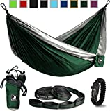 Green and Grey Flagship-X Double Hammock fits 2 adults. Comes with everything including hammock, tree straps, carabiners, and a fire-starting survival paracord bracelet.