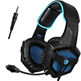 UL SADES SA807 Multi-Platform Gaming Headsets Headphones For New Xbox one PS4 PC Laptop Mac iPad iPod (Black&Blue)