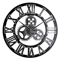 HMKEMAO 16 18 20 Imitation Metal Industry Style Wooden Gear Wall Clocks Home Decor 3D Retro Quiet Large Hanging Clock