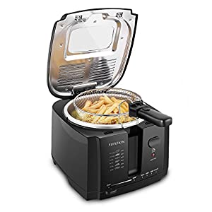 Flexzion Deep Fryer with Basket - Home Electric Deep Fat Fryer Cooker w/2 Liter Food Oil Capacity Adjustable Temperature Thermostat Grease Filter & Removable Container for Chicken French Fries Shrimp