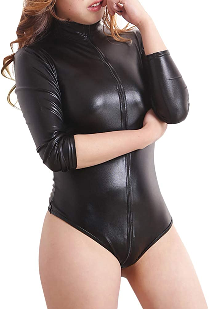 Faux Latex Latex Look Black Catsuit Jumpsuit Crotch Zip Long Sleeves High Neck