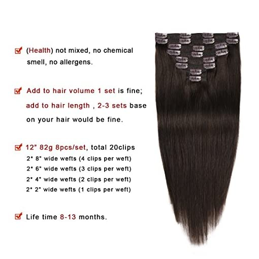 Medium Long Human Straight Clip-in-Extensions Hair Piece 12 in by 3 in Wide