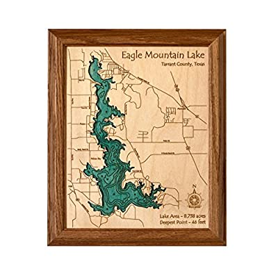 Kentucky Lake and Lake Barkley in , KY TN - 2D Map 8 x 10 IN - Laser carved wood nautical chart and topographic depth map.