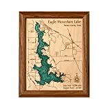 Great East Lake in York Carroll NH, ME - 2D Map 8 x 10 IN - Laser carved wood nautical chart and topographic depth map.