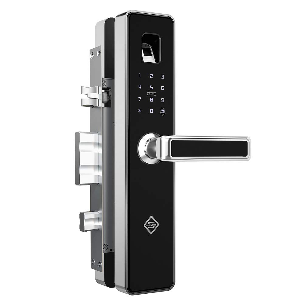 PINEWORLD Q303Plus Advance Fingerprint Smart Door Lock, Intelligent Touchscreen Door Knob with National Biometric Module+RFID Card and Mechanical Key for Home Security, Handle Direction Reversible