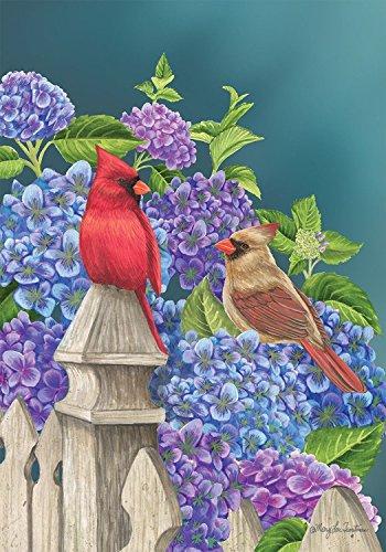 - Briarwood Lane Cardinals and Hydrangeas Spring House Flag Floral Birds Fencepost 28