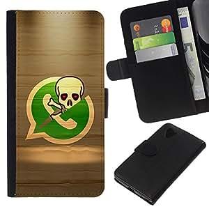 All Phone Most Case / Oferta Especial Cáscara Funda de cuero Monedero Cubierta de proteccion Caso / Wallet Case for LG Nexus 5 D820 D821 // Pirate Skeleton Phone