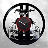 mustang car clock - Mustang Vinyl Clock - Ford Mustang Sports Car Vinyl Records Wall Art Room Decor Handmade Decoration Party Supplies Theme - Best Original Birthday Vintage Modern Style