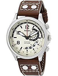 Men's FS5043 Recruiter Stainless Steel with Brown Leather Band