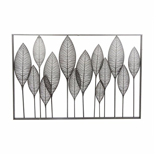 Benzara Fine Looking Modern Leaves Metal Wall Decor, Black Home Accent