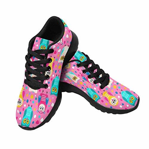 Interestprint Femmes Jogging Running Sneaker Léger Aller Confort De Marche Facile Sport Chaussures De Sport Hibou Coloré Avec Ornement Blanc Doodle