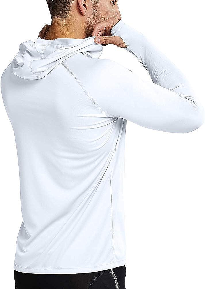 UPF 50 Langarmhemd Rash Weste UV Sonnenschutz Top Schwimm-T-Shirt zum Laufen Surfen Wandern Sport MeetHoo Rash Guard Herren