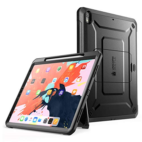 SupCase UB Pro Series Case for iPad Pro 11 2018, Support Pencil Charging with Built-in Screen Protector Full-Body Rugged Kickstand Protective Case for iPad Pro 11 inch 2018 Release (Black)