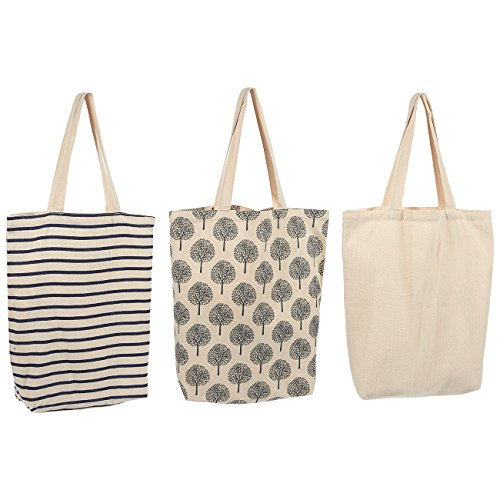 Reusable Grocery Bags - 3 Pack - 3 Different Designs - Tote Bags with Handles - Durable Cotton Shopping Bags, 15 x 16.5 x 3.7 Inches