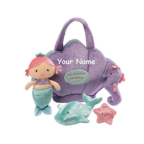 Personalized GUND My Mermaid Plush Stuffed Baby Playset with Plush Accessories -