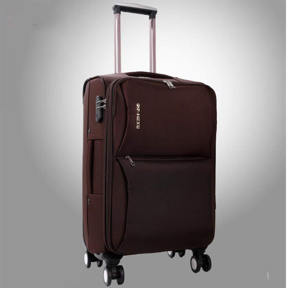 トロリースーツケース ユニセックス オックスフォードクロススーツケース 20/22/24/26/28 インチ搭乗ケース,Brown,24inch B07V84TXM4 Brown 24inch