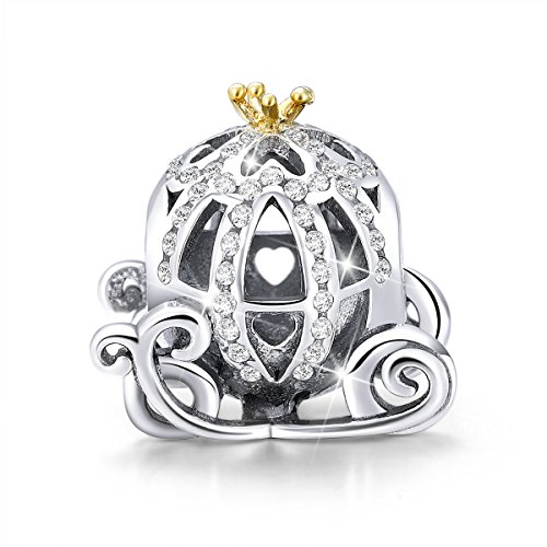 BAMOER Charm Sterling Silver Golden Pumpkin Princess Carriage Charms Fit DIY Snake Chain Bracelet