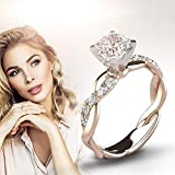 WoCoo Women Ring Bridal Cubic Zirconia Diamond