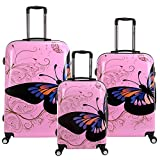 28 24 20 inch Travel Luggage Suitcase 4 Wheel Cabin Trolley Set (20 24 28 inch, Pink Butterfly)