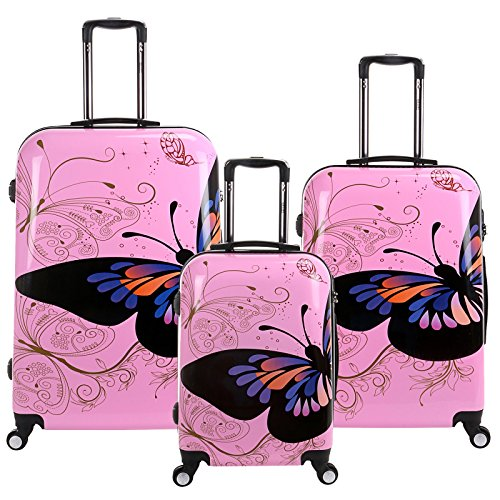 28 24 20 inch Pink Butterfly Travel Luggage Suitcase 4 Wheel Cabin Trolley Set by WindMax