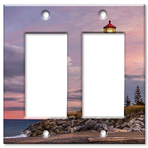 Art Plates Brand Double Gang Rocker Switch / Wall Plate - Lighthouse Of (Lighthouse Switchplate Cover)