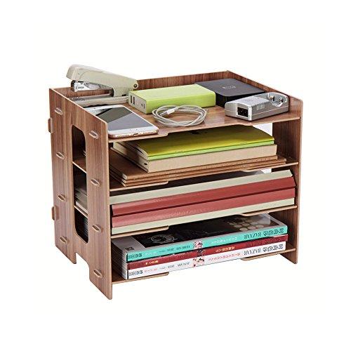 YUMU Rustic Wood Desk Organization for File Organizer Folders Desktop File Mail Sorter 4 Layers DH1044-04 by YUMU