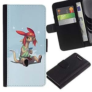 KLONGSHOP / Tirón de la caja Cartera de cuero con ranuras para tarjetas - Cartoon Character Anime Technology Big Ears - Sony Xperia Z1 Compact D5503