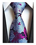 Men's Purple Blue White Silk Ties Wedding Silm Necktie Regular and Skinny Width