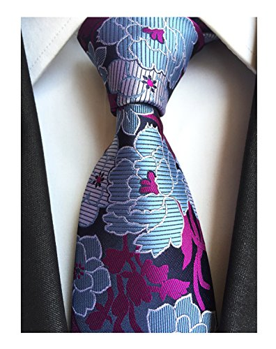 Men's Purple Blue White Silk Ties Wedding Silm Necktie Regular and Skinny Width by Elfeves