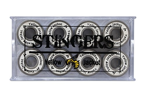 Yellow Jacket Premium Skateboard Bearings, Pro Longboard Bearings, 608, ABEC 11, White Lightning (Pack of 8)