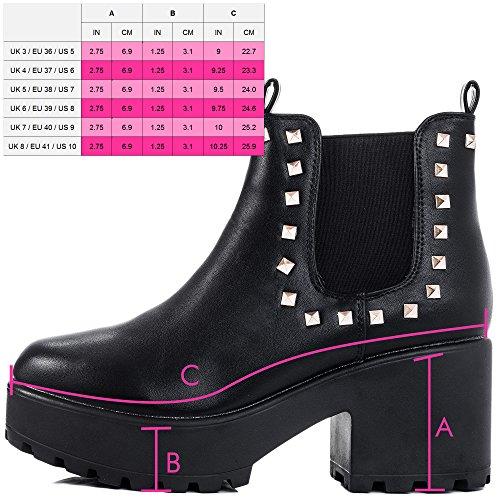 Bloc Shotgun Chaussures Negro Femmes Lacet Bottines Talon 2 Cuero Spylovebuy Sintético à Shotgun SqF4H4