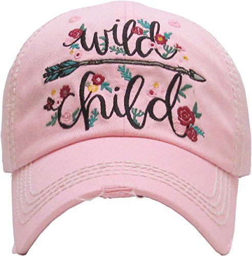 H-212-W29 Distressed Baseball Cap Womens Vintage Dad Hat - Wild Child -