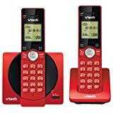 VTech DECT 6.0 Dual Handset Cordless Phones with CID, Backlit Keypads and Screens, Full Duplex Handset Speakerphones, and Call Block Red - CS6919-26