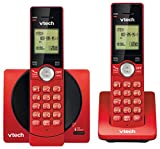 VTech DECT 6.0 Dual Handset Cordless Phones with CID, Backlit Keypads and Screens, Full Duplex Handset Speakerphones, and Call Block Red