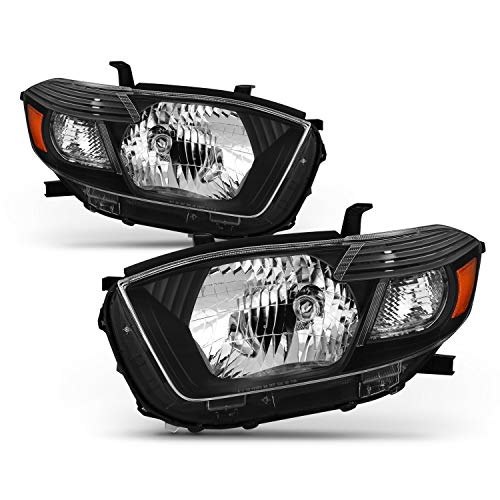 (Fits 2008-2010 Toyota Highlander OE Style Headlights Black Headlamp Left+Right Pair Set Halogen Type Bulb)