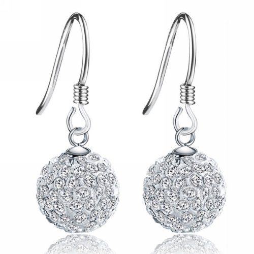 Merdia S925 Sterling Silver Simulated Crystal Ball White Ball Shaped Hook Earrings