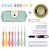 Crochet Kit,BCMrun 2.5mm-6mm Ergonomic Crochet Hooks with Grips,Crochet Hook Case Organizer Bag,8pcs Comfort Grip Crochet Needles,Rubber Handle Crochet Hook Knitting Needle Set With 24 pcs Accessories