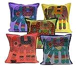 5Pcs-100Pcs Amazing India Elephant Design Patchwork Multi Color Handmade Home Decor Cushion Covers Wholesale Lot (Multi-100pcs )