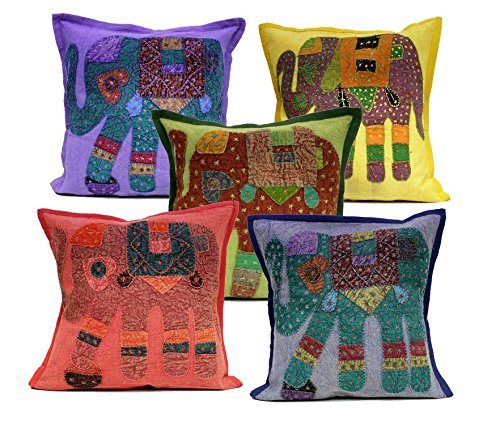 5Pcs-100Pcs Amazing India Elephant Design Patchwork Multi Color Handmade Home Decor Cushion Covers Wholesale Lot (Multi-100pcs ) by Amazingindiaonline