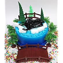 Winter Wonderland Snowmobile Winter Sport Birthday Cake Topper Set Featuring Figure and Decorative Themed Accessories