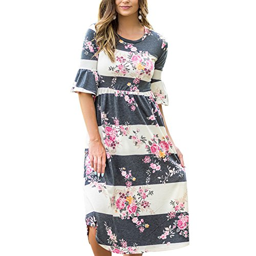 93ab583b16240 DANALA Women's Boho Vintage Floral Printed V-Neck Cocktail Dress Long  Sleeve Casual Loose Fit