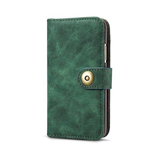 gloriphy 2 in 1 Premium Suede Leather Wallet and Magnetic Detachable Slim Case Folio Cover with Card Slots for iPhone Xs Max - Teal Blue (Suede Case Folio)